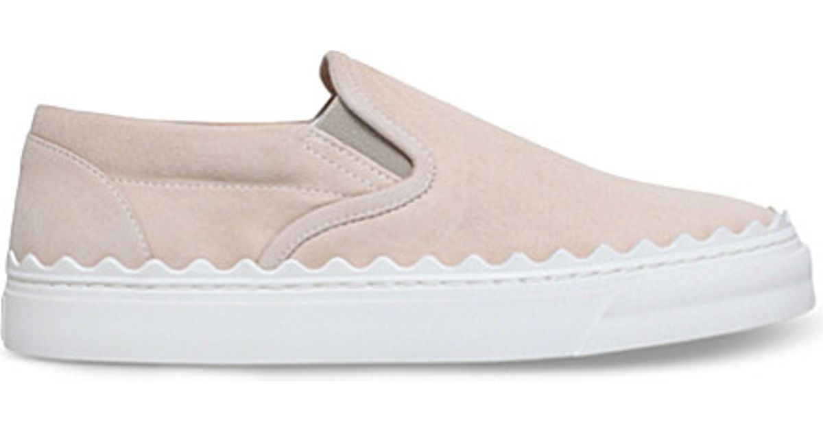 Scallop Leather Plimsolls in Taupe