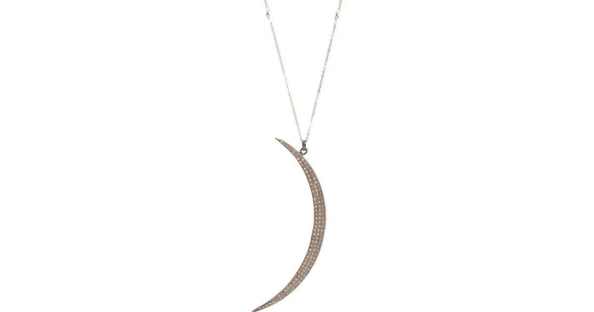 Lyst feathered soul diamond moon pendant necklace in metallic aloadofball Image collections