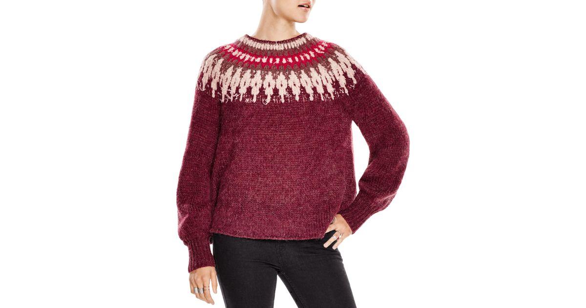 Free people Baltic Fair Isle Sweater in Purple | Lyst