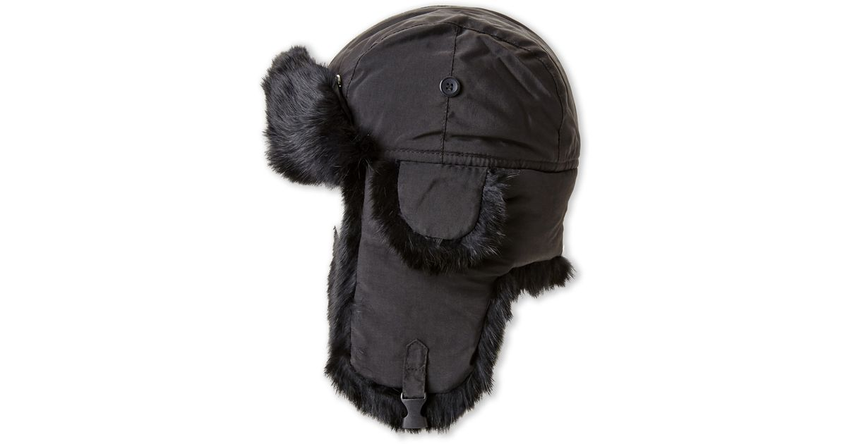 b37d5ded351ee Crown Cap Real Rabbit Fur Lined Bomber Hat in Black for Men - Lyst