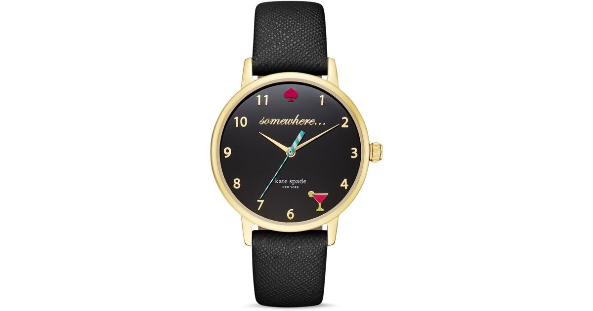 Kate Spade Promotional Code >> Kate spade 5 O'clock Somewhere Leather Strap Watch, 34mm in Black   Lyst