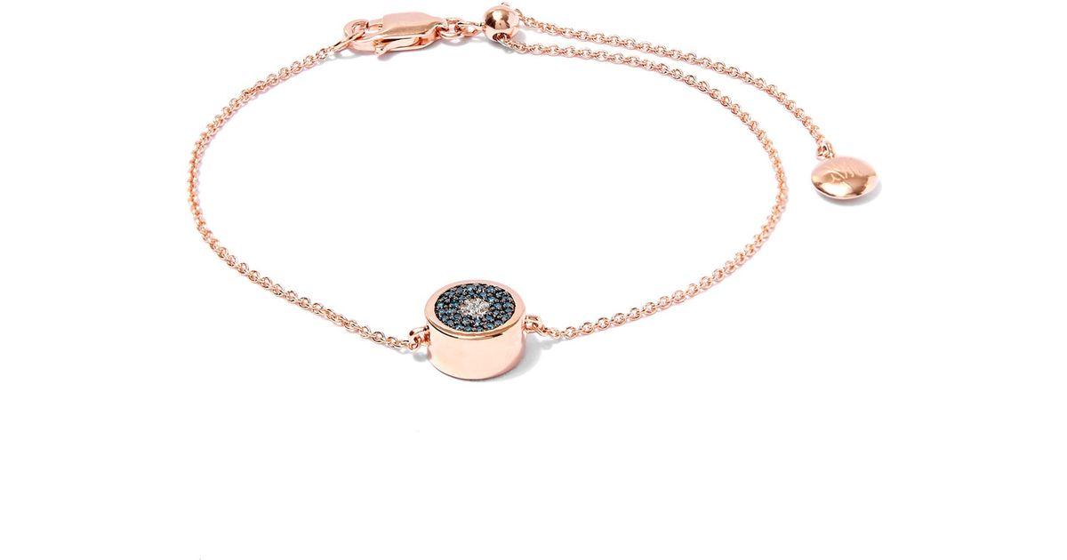 Lyst Monica Vinader Rose Gold Plated Evil Eye Diamond Bracelet In Metallic
