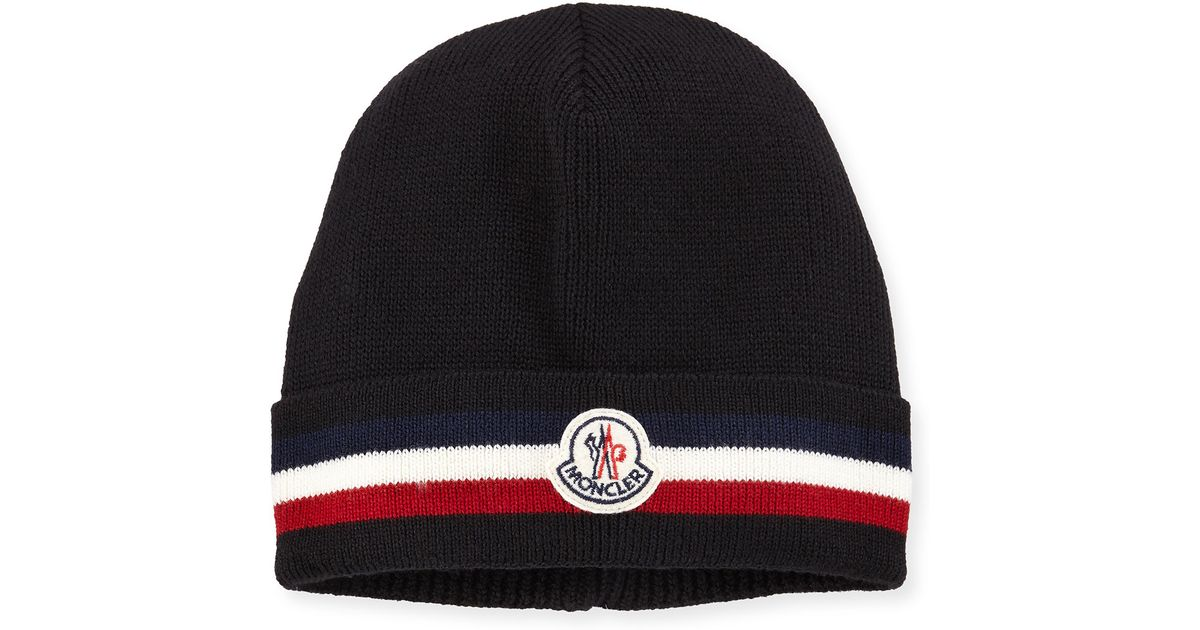 bea30038005 Lyst - Moncler Striped Logo Cashmere Beanie Hat in Blue