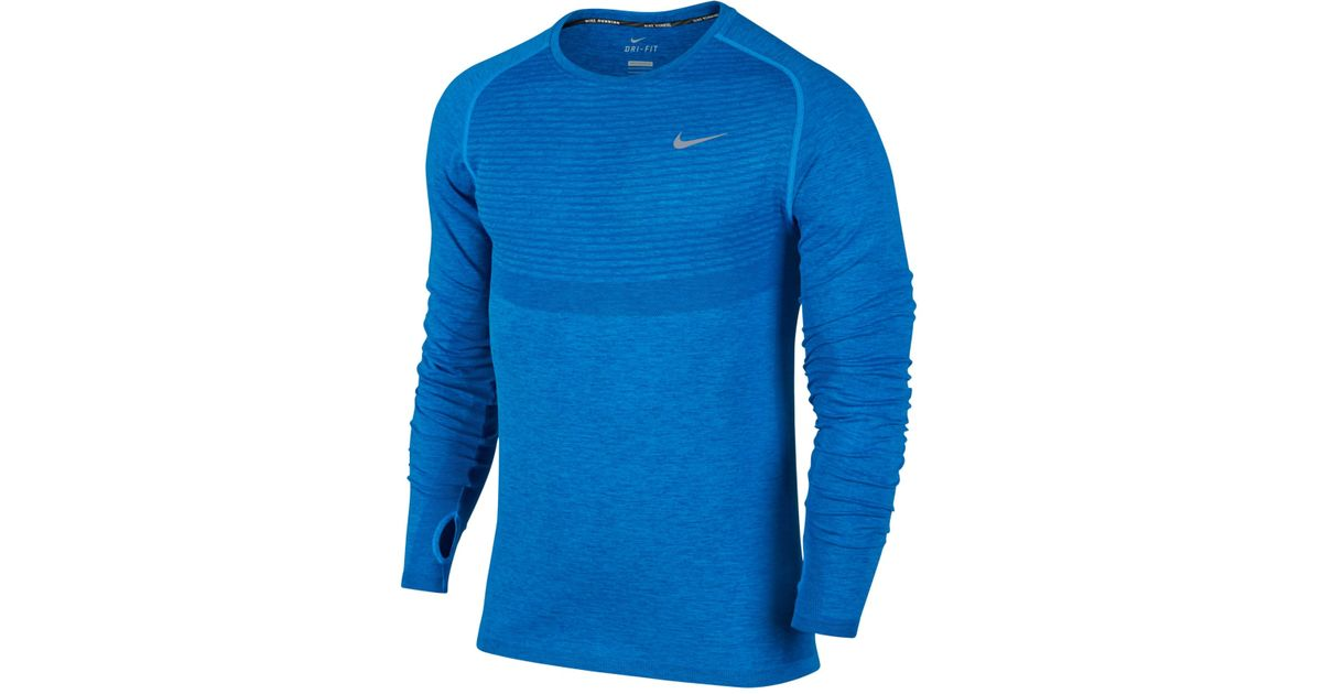 Lyst - Nike Men s Dri-fit Knit Running Long-sleeve Shirt in Blue for Men 7f87a33fd589