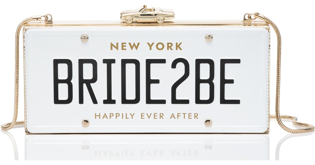 Gucci License Plate >> Kate spade Wedding Belles Bride2be License Plate Clutch in Multicolor | Lyst