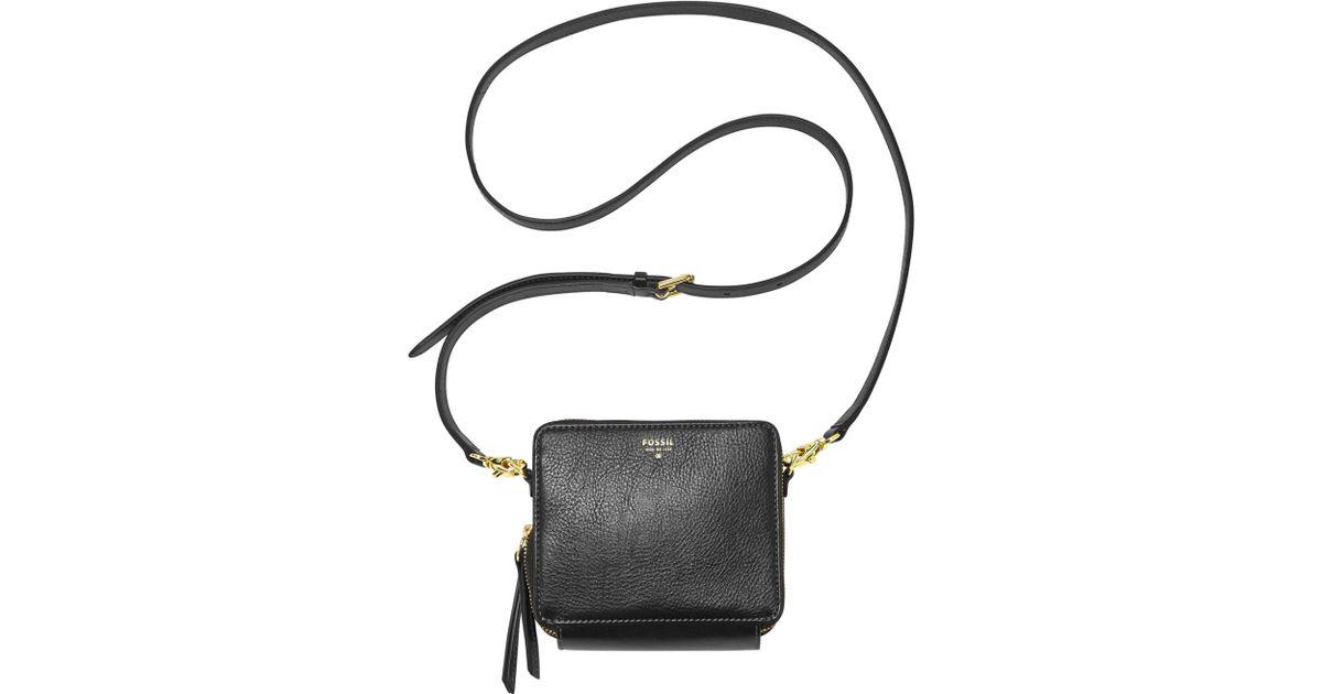 Lyst - Fossil Sydney Leather Mini Organizer Crossbody in Black 8c32b3fd9776a