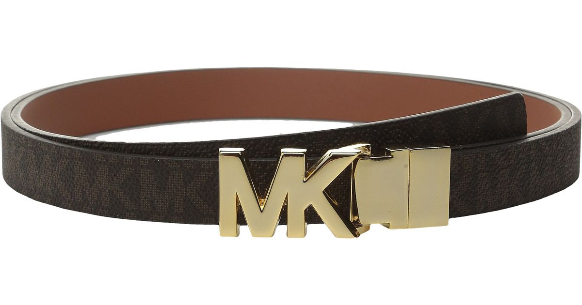 b68f2afb5bf2 Lyst - MICHAEL Michael Kors 20mm Reversible Logo Pvc To Smooth Belt On Mk  Plaque Buckle in Brown