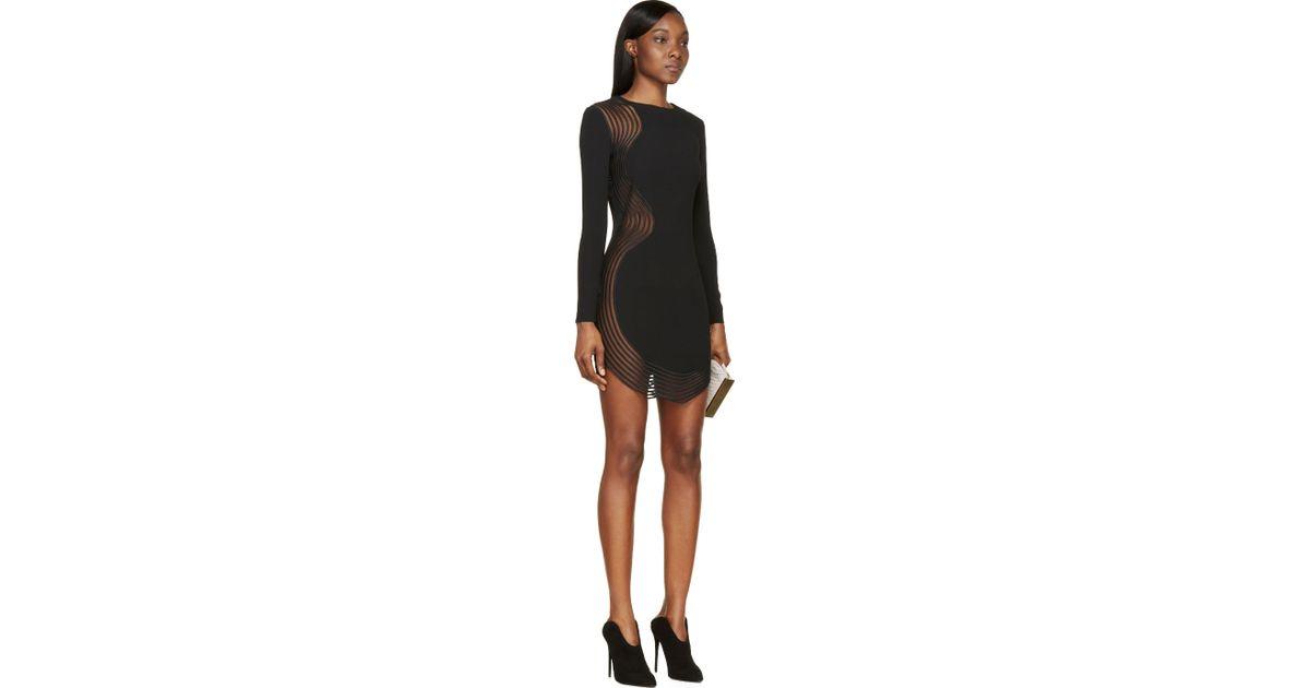 Lyst Stella Mccartney Black Long Sleeve Sheer Lace Panel Dress In