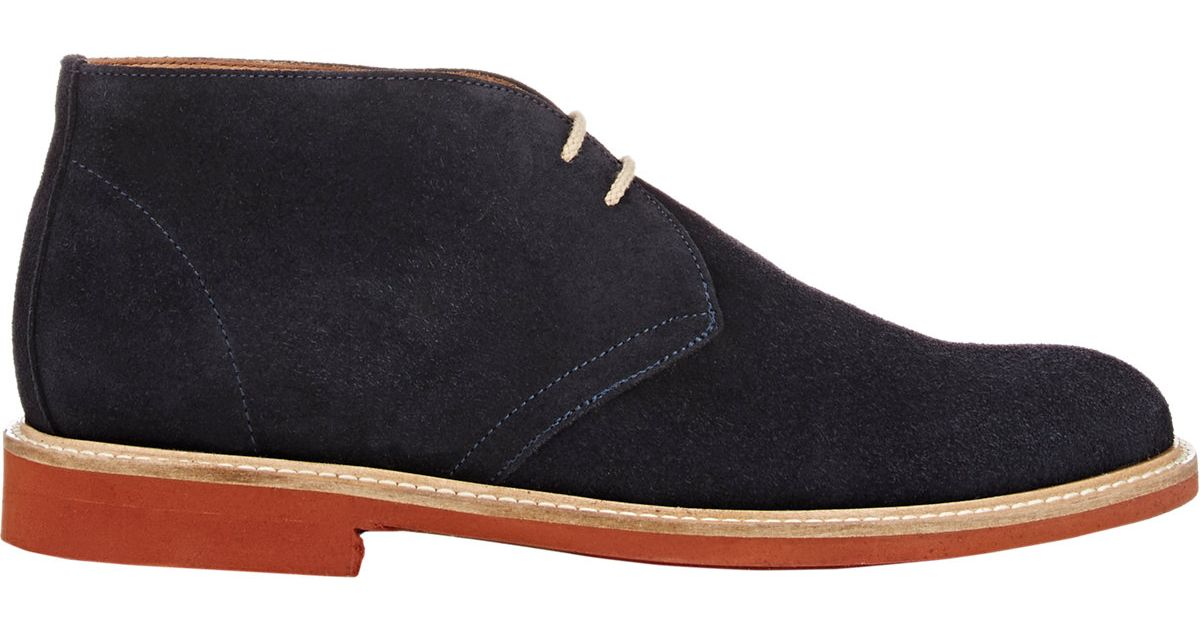 barneys new york suede chukka boots in blue for lyst