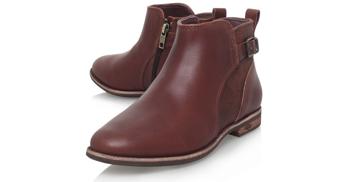 3d37ec66b2c0f ... promo code for ugg demi leather flat heeled chelsea ankle boots in brown  lyst badee cae63
