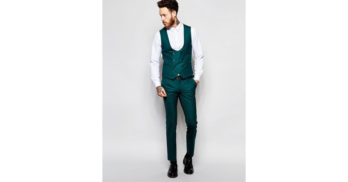 1e6ff9119 Lyst - Noose And Monkey Double Breasted Waistcoat With Stretch In Super Skinny  Fit in Green for Men