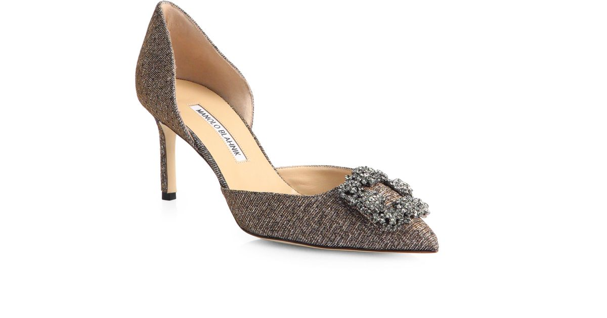 Manolo Blahnik Metallic d'Orsay pumps discount manchester great sale fast delivery cheap price cheap discounts outlet locations sale online rS9Uc9INFm