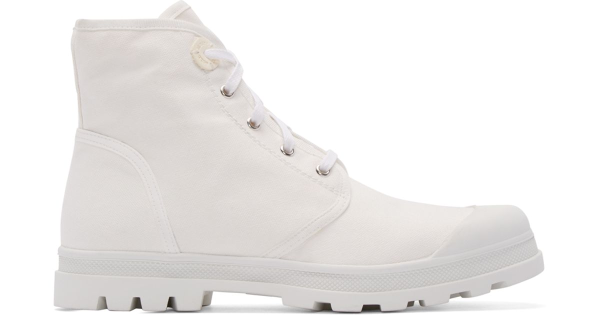 122a51ef5c3b7 Diesel Black Gold White Canvas Boots in White for Men - Lyst