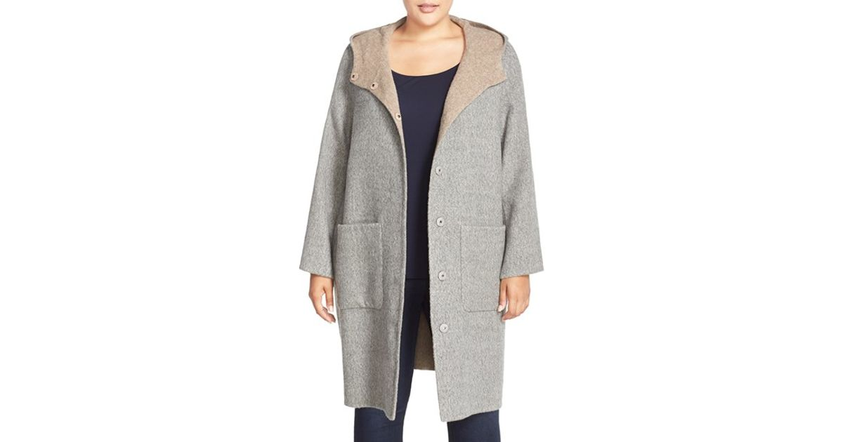 05aecec241f Eileen Fisher Hooded Double Face Alpaca Blend Coat in Gray - Lyst