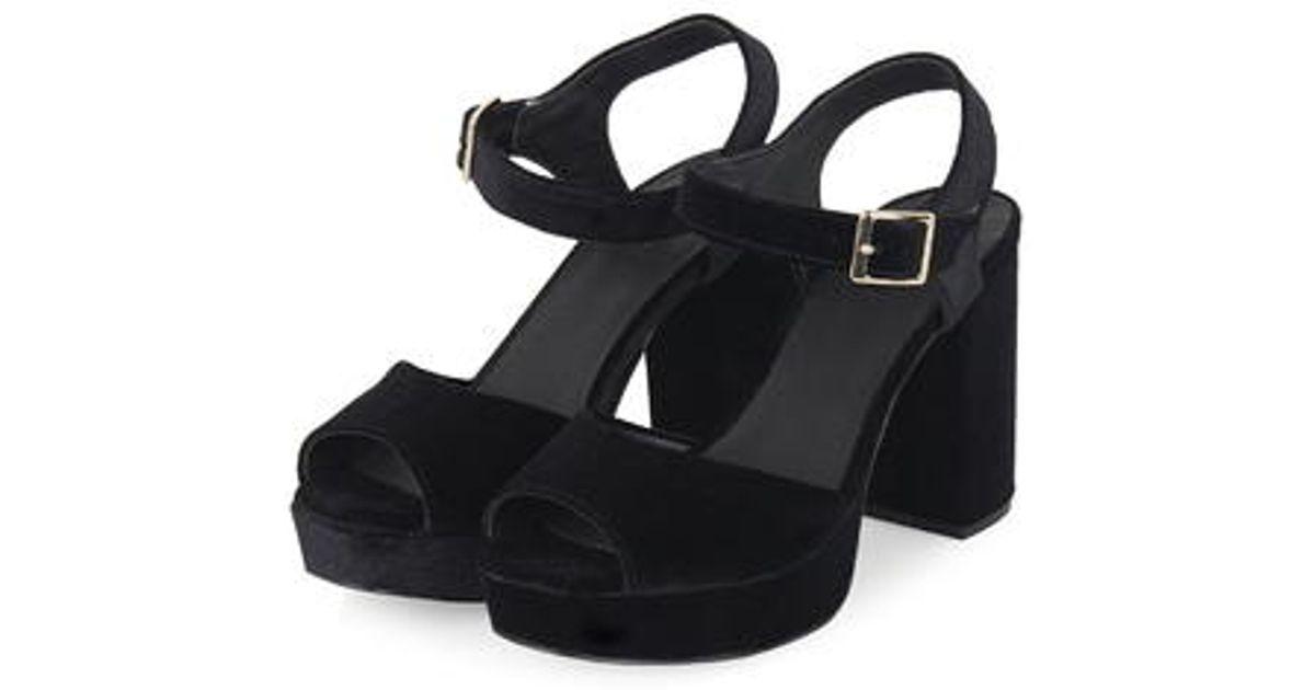 TOPSHOP Limbo Velvet Platform Sandals