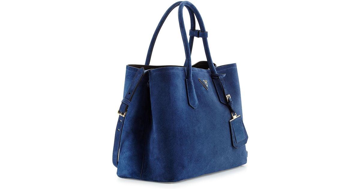 3bd5c6b2c706 Lyst - Prada Suede Medium Double Bag in Blue