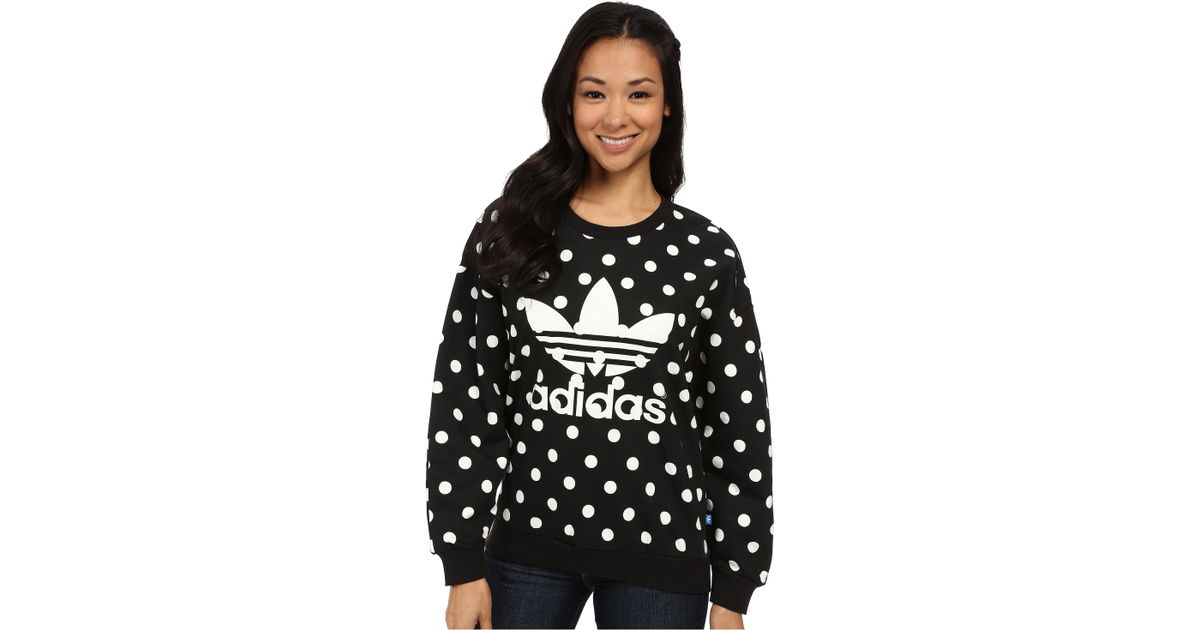 2018 shoes order online authentic Adidas Originals Black Dots Aop Trefoil Sweatshirt