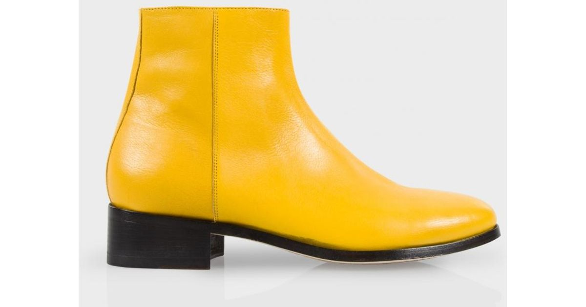 00fc8a355a6 Paul Smith Men's Yellow Buffalino Leather 'ollis' Boots for men