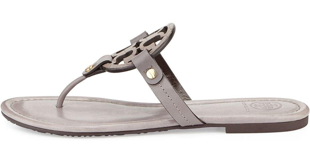 b4c5f085f21 Lyst - Tory Burch Miller Logo Flat Sandal in Gray