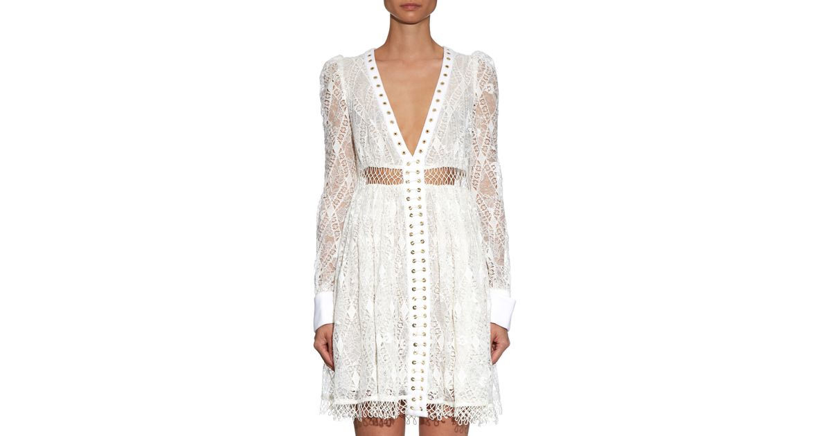 Empire Macramé Lace Dress In White