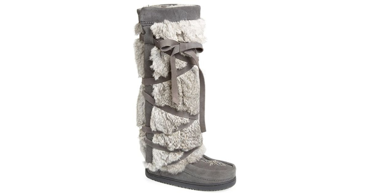 Manitobah Mukluks Genuine Rabbit Fur Tall Wrap Boot In