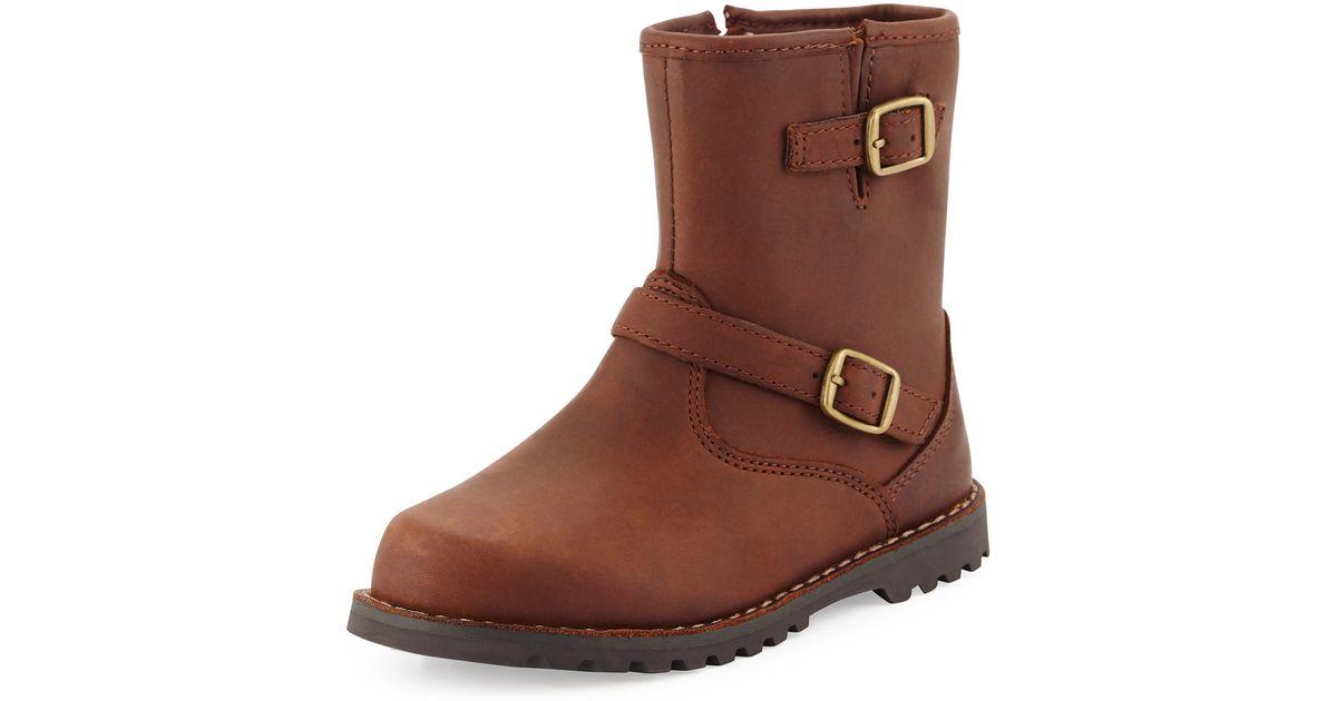 00826b7b105 Ugg Brown Harwell Leather Buckle-trim Boot