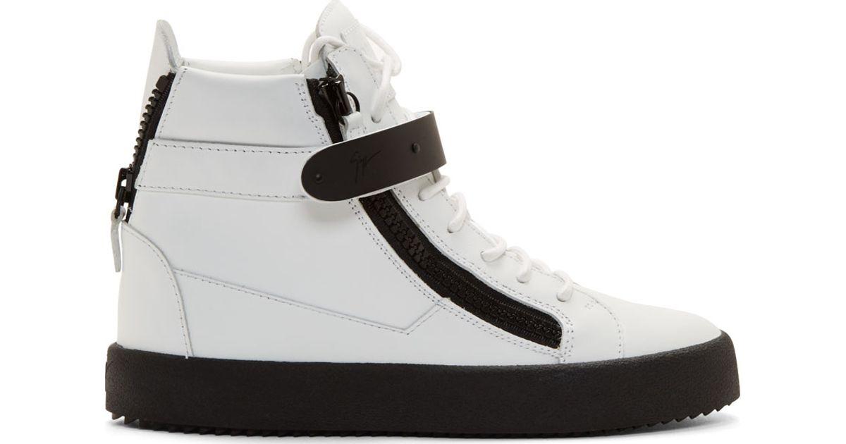fe50a9daa343 Lyst - Giuseppe Zanotti White   Black Leather May Birel Sneakers in White  for Men