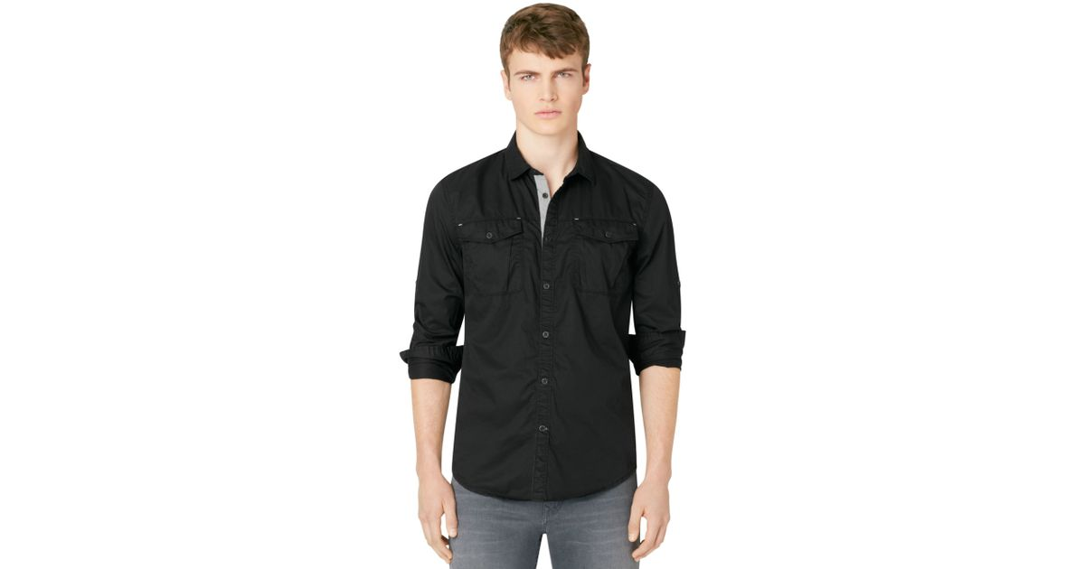 Calvin klein jeans Buttondown Shirt in Black for Men | Lyst