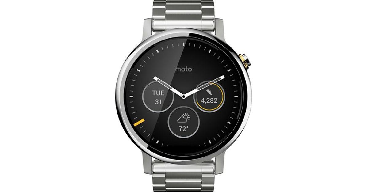 motorola 39 moto 360 2nd gen 39 bracelet smart watch in silver. Black Bedroom Furniture Sets. Home Design Ideas