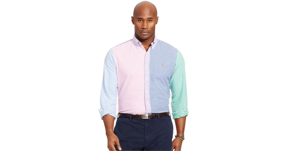 Lyst - Polo Ralph Lauren Big And Tall Gingham Oxford Shirt in White for Men 1f485a78a3