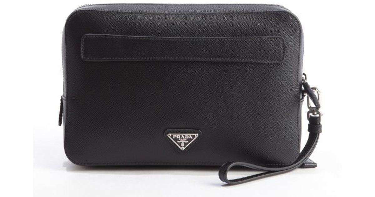 Prada Black Saffiano Leather Double Zipper Small Travel Bag in ...