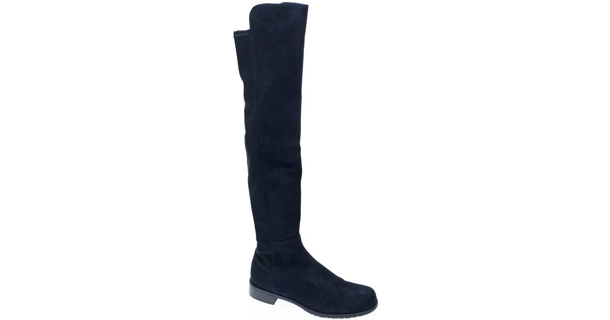 stuart weitzman navy 5050 suede knee boots in blue lyst