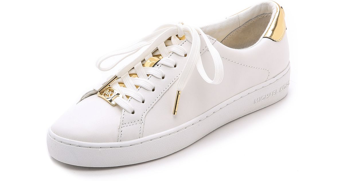 Lyst - MICHAEL Michael Kors Irving Lace Up Sneakers - Optic Pale Gold in  White e790c5fbe3ee