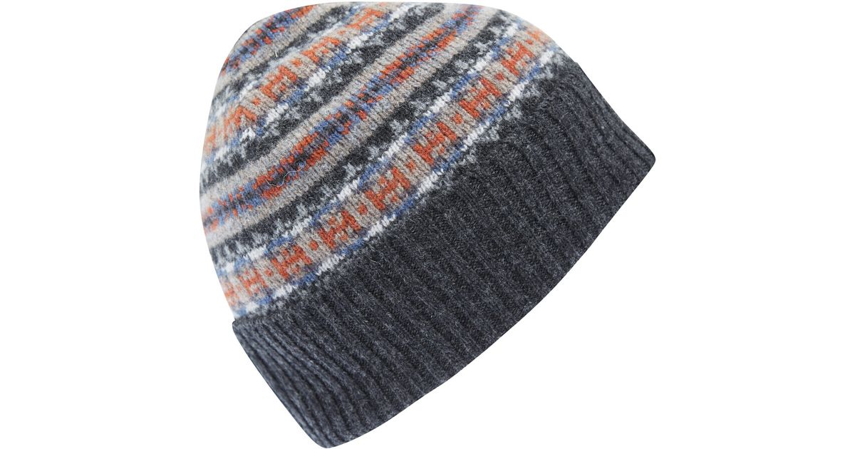 Lyst - Barbour Grey Melrose Fairisle Wool Beanie Hat in Gray for Men