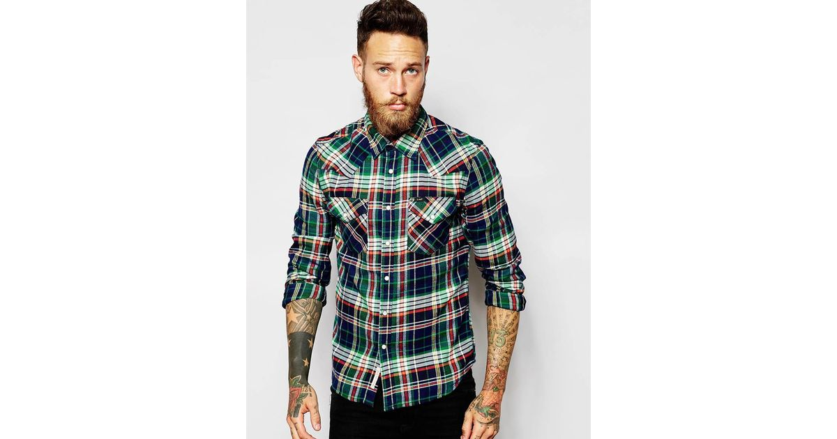 Lee jeans shirt slim fit western flannel check in green for Women s slim fit flannel shirt