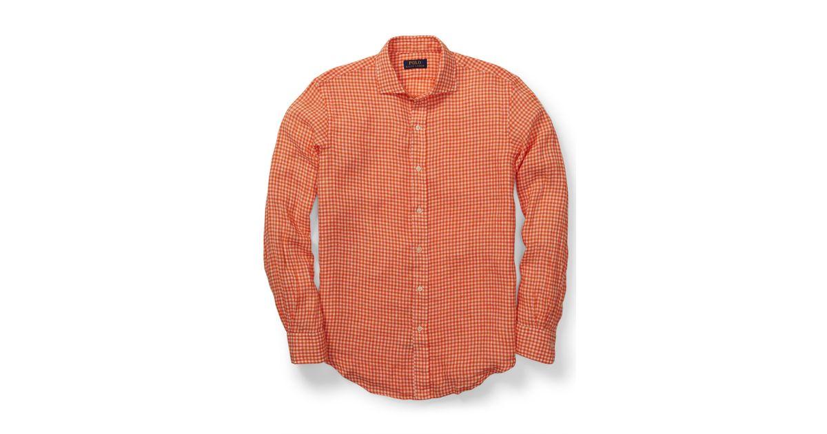 Estate Men Lauren Gingham Ralph Shirt For Orange Polo Linen qAjRc354L