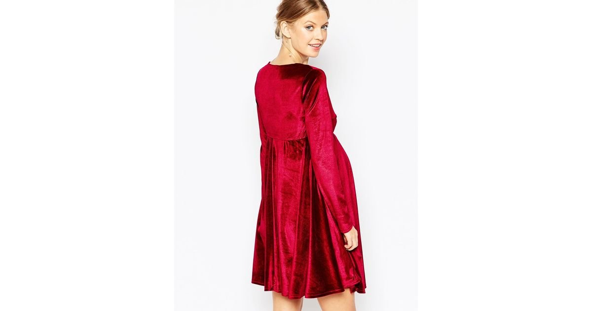4a4aa77f0035 Lyst - Club L Maternity Velvet Plunge Front Midi Skater Dress in Red