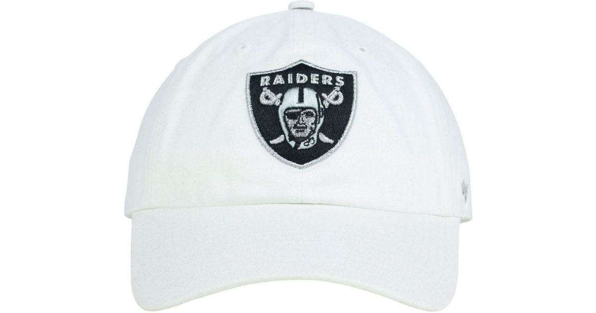 save off 05ba5 2ec6d ... good lyst 47 brand womens oakland raiders luster clean up cap in white  287ce 0a911