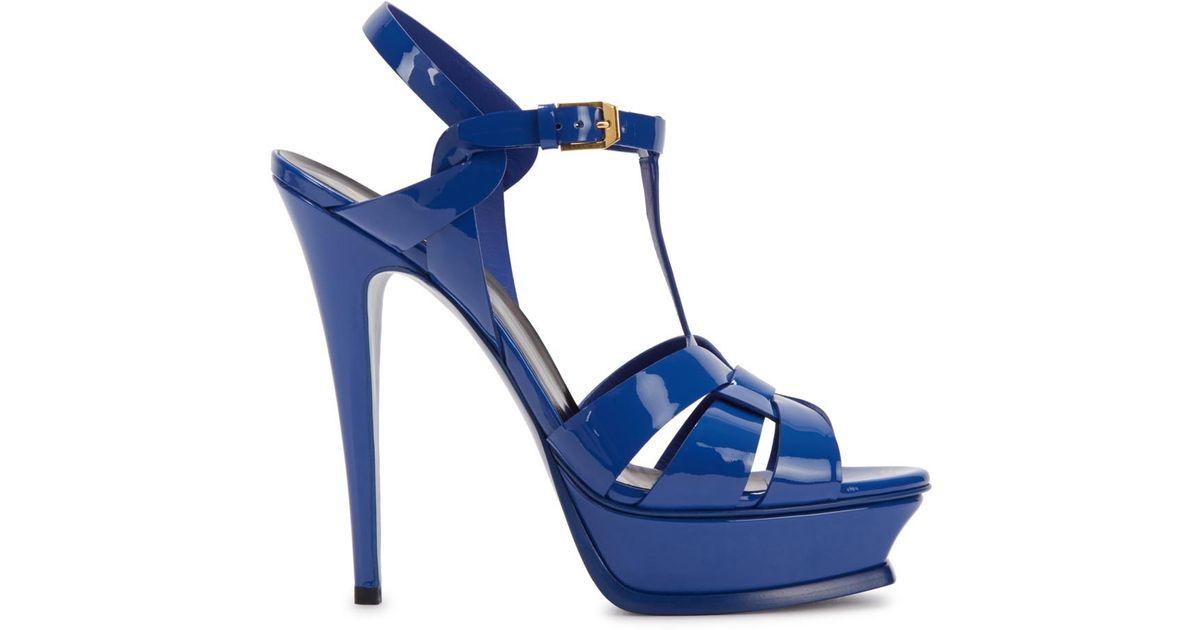 Patent Blue Saint Leather Tribute Laurent Sandals qSVMpUzG