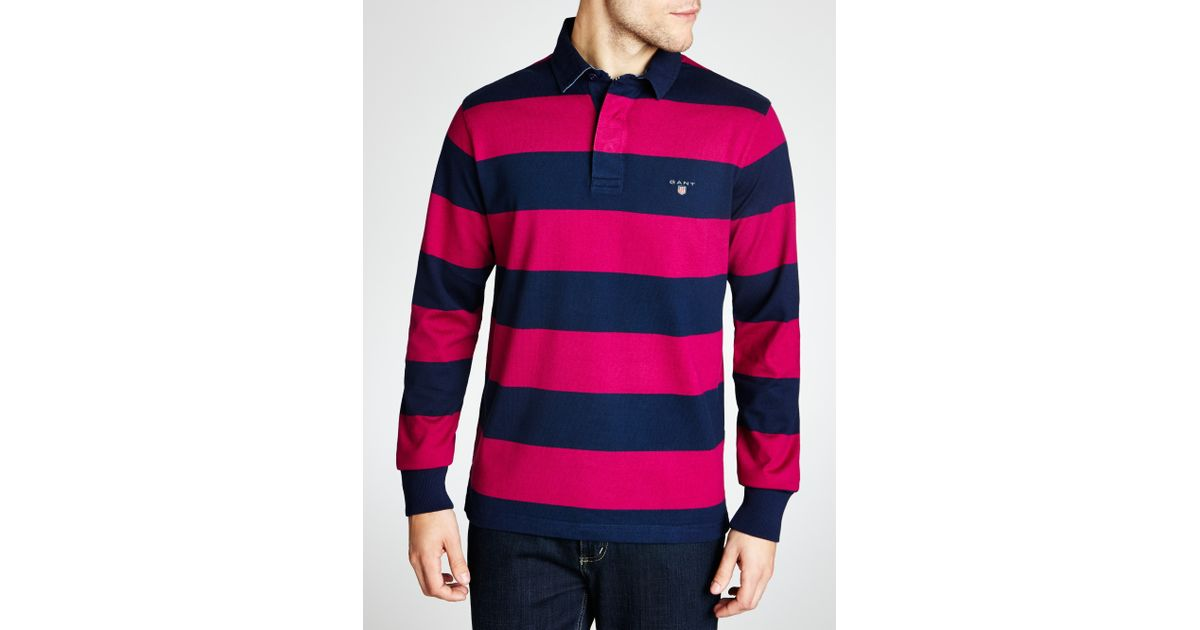 Gant Purple Bar Stripe Long Sleeve Rugby Shirt For Men
