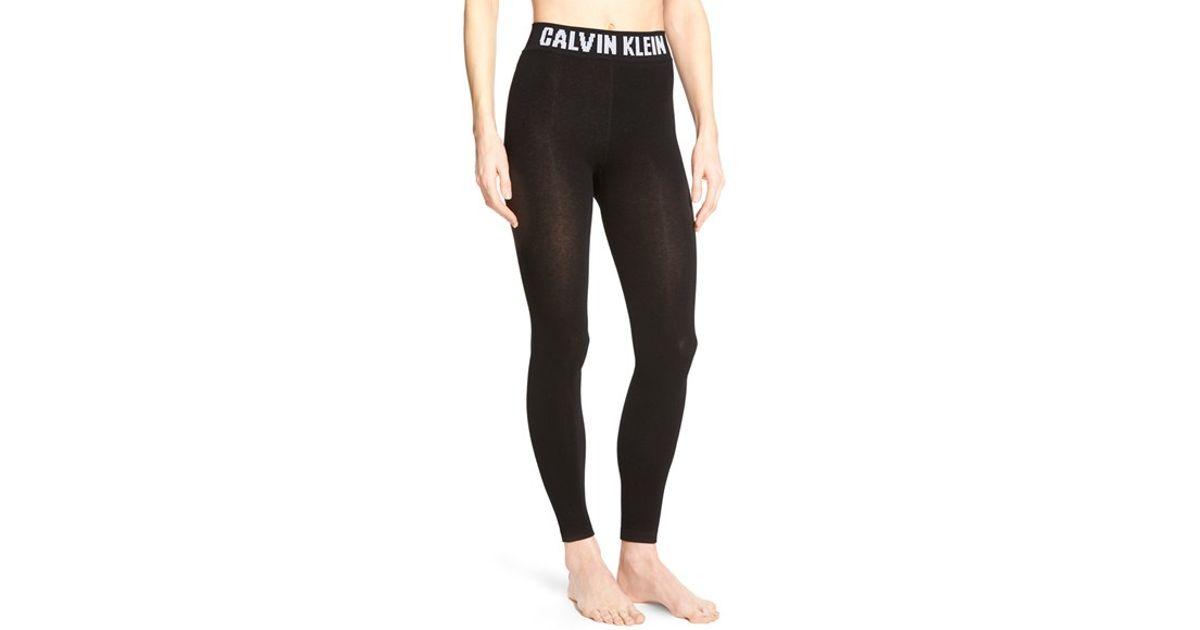 calvin klein 39 retro 39 logo leggings in black grey lyst. Black Bedroom Furniture Sets. Home Design Ideas