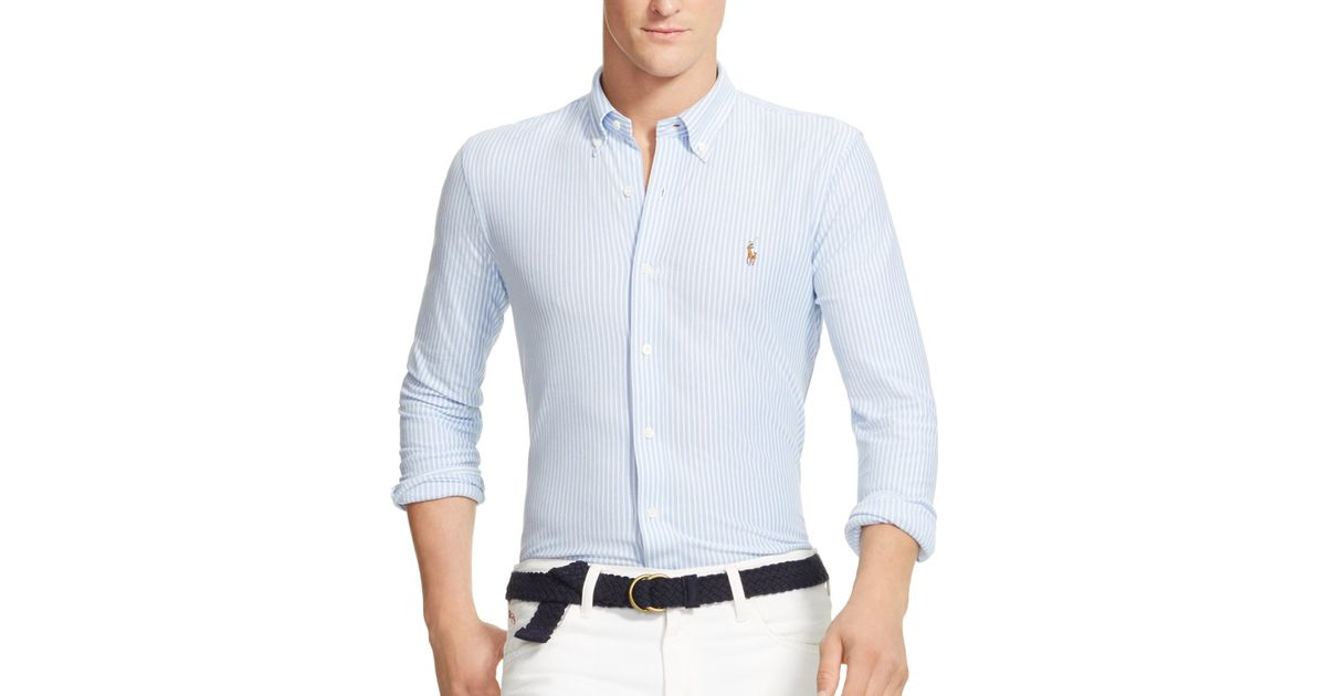 Polo Ralph Lauren White Striped Knit Oxford Slim Fit Button Down Shirt for men