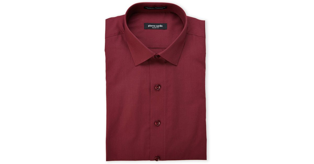 Pierre Cardin Burgundy Slim Fit Dress Shirt In Red For Men