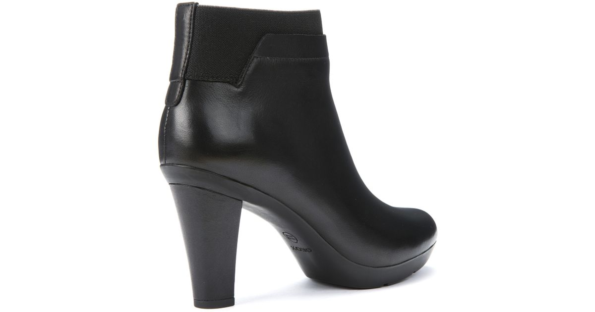 80be04615e794 Geox Inspiration Block Heeled Ankle Boots in Black - Lyst