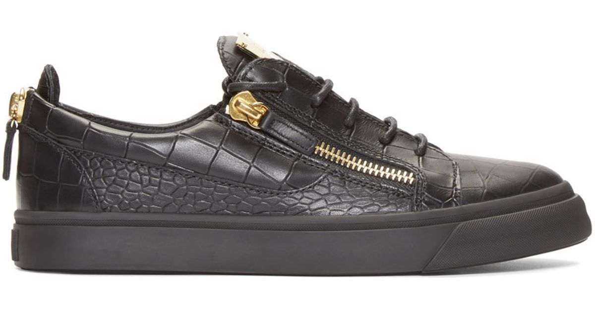 c6c54437a083c Lyst - Giuseppe Zanotti Black Croc-embossed Low-top London Sneakers in  Black for Men