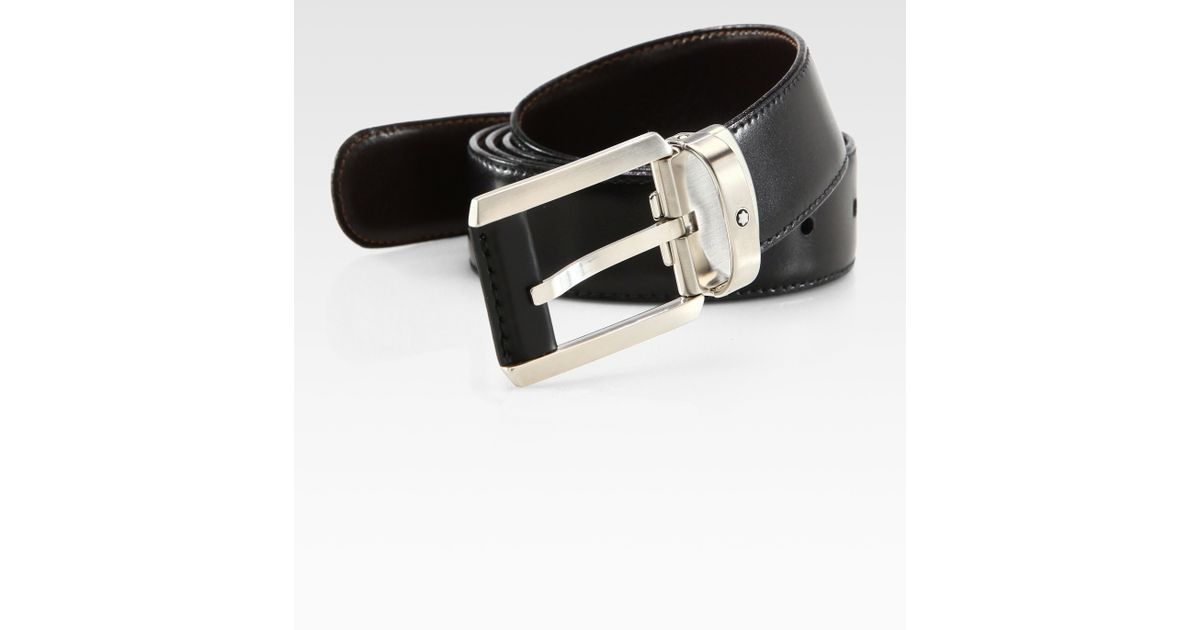 montblanc classic leather belt in black for lyst