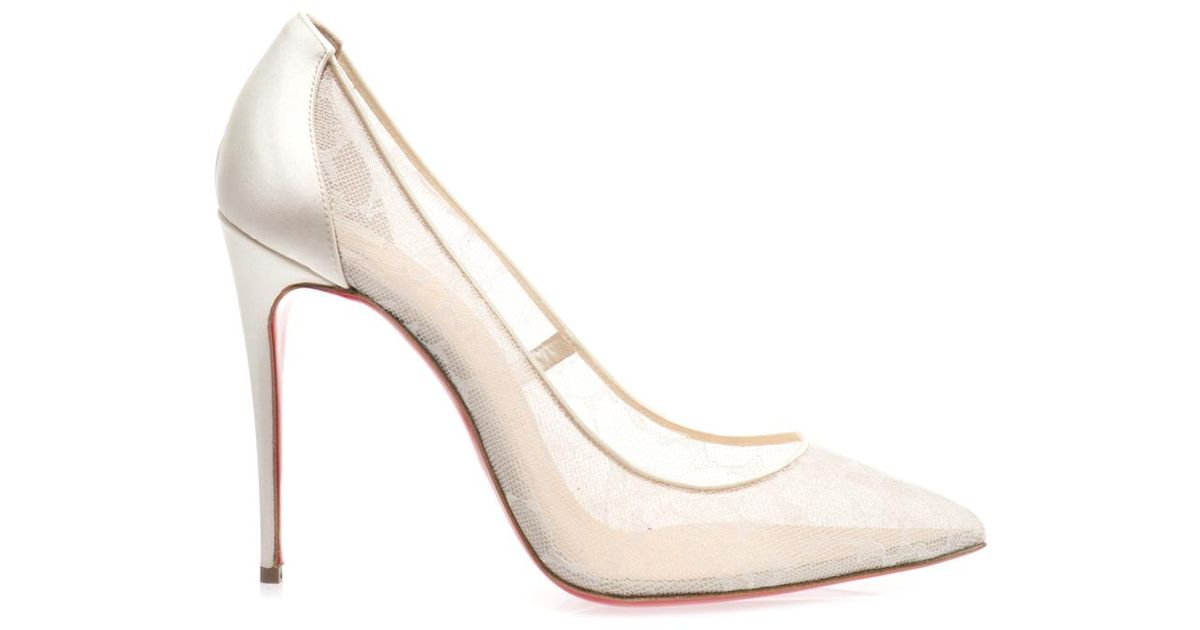 reputable site 1413f 7b6c3 Christian Louboutin White Pigalle 100Mm Lace Pumps