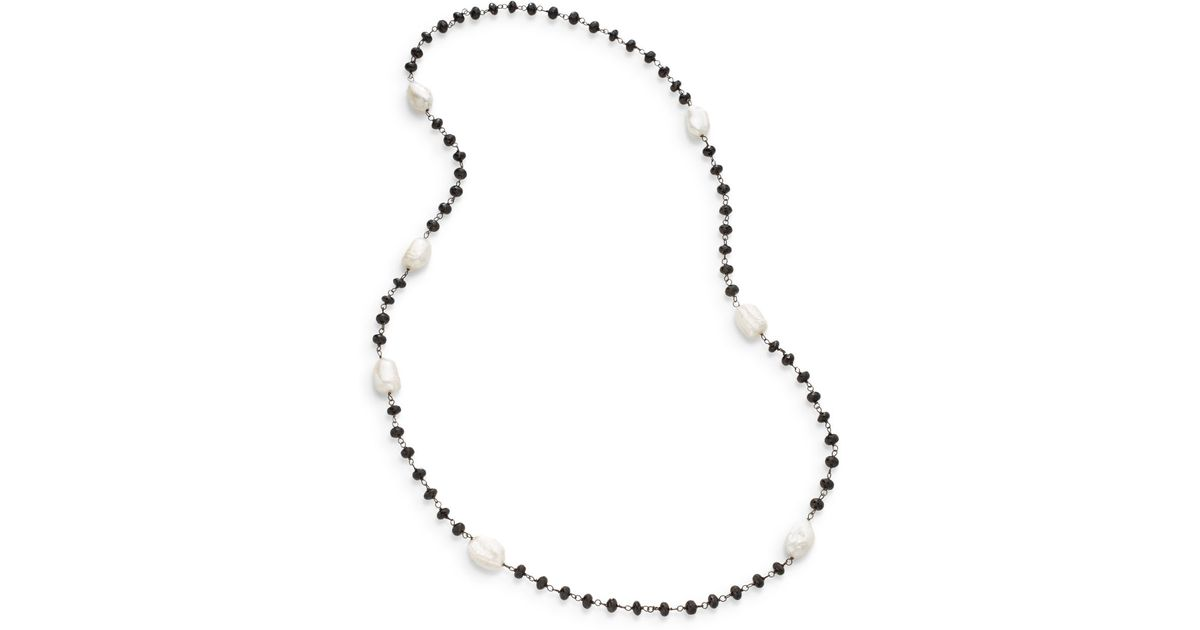 2a46da9c0fce0 Bavna Metallic 20mm Off-white Baroque Freshwater Pearl & Black Spinel Bead  Necklace