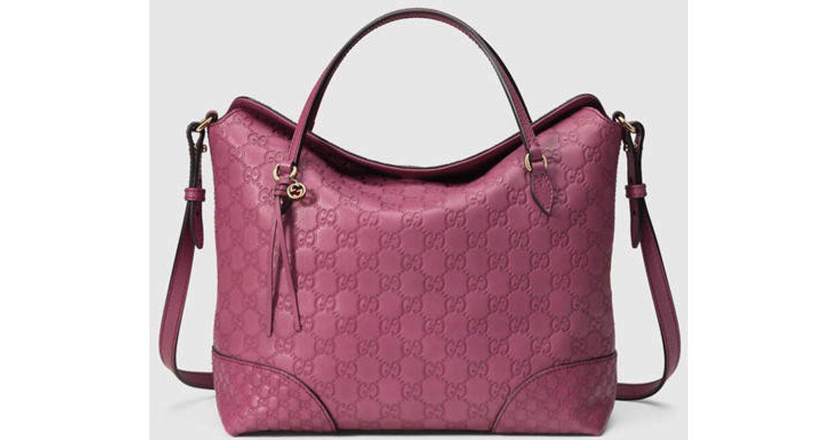 d7dfa7ede0f Lyst - Gucci Bree Guccissima Top Handle Bag in Pink