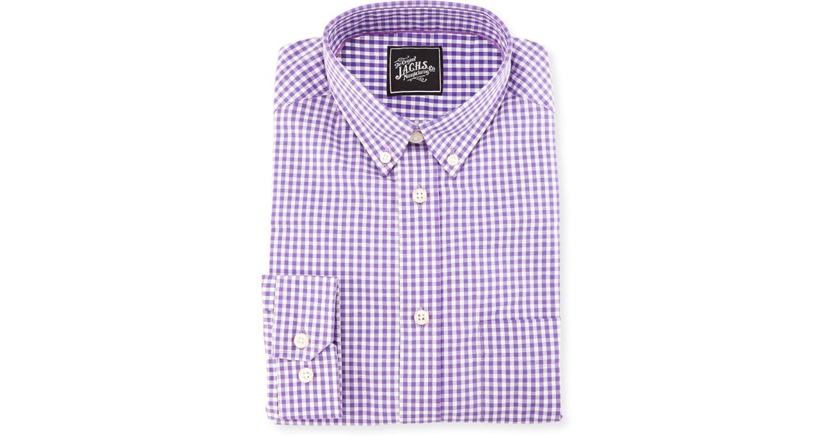 Jachs gingham cotton dress shirt in purple for men lyst for Men s purple gingham shirt